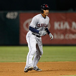 Cleveland Indians' Ezequiel Carrera takes a lead off of second during a baseball game Thursday, Sept. 13, 2012, in Arlington, Texas. The Indians won 5-4. (AP Photo/Tony Gutierrez)