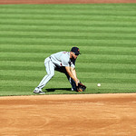 Detroit Tigers second baseman Omar Infante fields a ball in a baseball game against the Cleveland Indians, Sunday, Sept. 16, 2012, in Cleveland. (AP Photo/Tony Dejak)