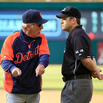 Detroit Tigers manager Jim Leyland, left, argues a call after getting ejected by first base umpire Brian Knight during the fifth inning of a baseball game against the Cleveland Indians, Sund &#8230;
