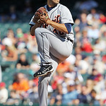 Detroit Tigers starting pitcher Rick Porcello pitches in a baseball game against the Cleveland Indians, Sunday, Sept. 16, 2012, in Cleveland. (AP Photo/Tony Dejak)