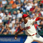 Cleveland Indians starting pitcher Ubaldo Jimenez pitches in a baseball game against the Detroit Tigers, Sunday, Sept. 16, 2012, in Cleveland. (AP Photo/Tony Dejak)