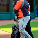 Detroit Tigers catcher Alex Avila, left, is helped off the field after colliding with first baseman Prince Fielder in the sixth inning of a baseball game against the Cleveland Indians, Sunda &#8230;