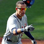 Detroit Tigers&#039; Quintin Berry tosses his helmet after striking out against Cleveland Indians starting pitcher Ubaldo Jimenez during the fourth inning in a baseball game, Sunday, Sept. 16, 20 &#8230;