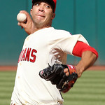 Cleveland Indians starting pitcher Ubaldo Jimenez pitches in the first inning of a baseball game against the Detroit Tigers, Sunday, Sept. 16, 2012, in Cleveland. (AP Photo/Tony Dejak)