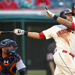 Cleveland Indians&#039; Carlos Santana, right, watches his ball after hitting a triple off Detroit Tigers relief pitcher Jose Valverde in the ninth inning of a baseball game on Sunday, Sept. 16,  &#8230;
