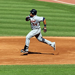 Detroit Tigers&#039; Miguel Cabrera runs the bases in a baseball game against the Cleveland Indians, Sunday, Sept. 16, 2012, in Cleveland. (AP Photo/Tony Dejak)