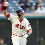 Cleveland Indians&#039; Lonnie Chisenhall  raises his arm after hitting an game winning RBI-single off Detroit Tigers relief pitcher Jose Valverde in the ninth inning in a baseball game, Sunday,  &#8230;