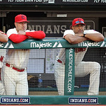 Cleveland Indians manager Manny Acta, left, and Cleveland Indians bench coach Sandy Alomar, Jr. watch a baseball game between the Indians and the Detroit Tigers, Sunday, Sept. 16, 2012, in C &#8230;
