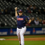 Cleveland Indians relief pitcher Vinnie Pestano throws to first in a baseball game against the Minnesota Twins Tuesday, Sept. 18, 2012, in Cleveland. (AP Photo/Mark Duncan)