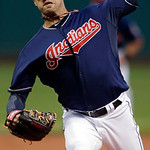 Cleveland Indians starting pitcher David Huff delivers against the Minnesota Twins in the first inning of a baseball game, Tuesday, Sept. 18, 2012, in Cleveland. (AP Photo/Mark Duncan)