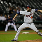 Minnesota Twins&#039; Tyler Robertson pitches against the Cleveland Indians in a baseball game Tuesday, Sept. 18, 2012, in Cleveland. (AP Photo/Mark Duncan)