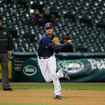 Cleveland Indians third baseman Lonnie Chisenhall throws out a runner in a baseball game against the Minnesota Twins Tuesday, Sept. 18, 2012, in Cleveland. (AP Photo/Mark Duncan)