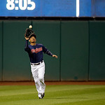 Cleveland Indians left fielder Ezequiel Carrera makes a catch in a baseball game against the Minnesota Twins Tuesday, Sept. 18, 2012, in Cleveland. (AP Photo/Mark Duncan)
