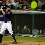 Cleveland Indians&#039; Russ Canzler bats against the Minnesota Twins in a baseball game Tuesday, Sept. 18, 2012, in Cleveland. (AP Photo/Mark Duncan)