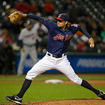 Cleveland Indians&#039; Chris Seddon pitches against the Minnesota Twins in a baseball game Tuesday, Sept. 18, 2012, in Cleveland. (AP Photo/Mark Duncan)