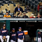 Fans behind the Cleveland Indians&#039; dugout sit with paper bags on their heads in the 11th inning of a baseball game against the Minnesota Twins, Tuesday, Sept. 18, 2012, in Cleveland. The Twi &#8230;