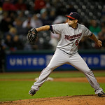 Minnesota Twins&#039; Brian Duensing pitches against the Cleveland Indians in a baseball game Tuesday, Sept. 18, 2012, in Cleveland. (AP Photo/Mark Duncan)