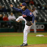 Cleveland Indians relief pitcher Chris Perez follows through in a baseball game against the Minnesota Twins Tuesday, Sept. 18, 2012, in Cleveland. (AP Photo/Mark Duncan)