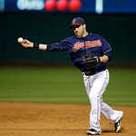 Cleveland Indians second baseman Jason Kipnis throws out a runner in a baseball game against the Minnesota Twins Tuesday, Sept. 18, 2012, in Cleveland. (AP Photo/Mark Duncan)