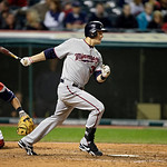 Minnesota Twins&#039; Justin Morneau bats against the Cleveland Indians in a baseball game Tuesday, Sept. 18, 2012, in Cleveland. (AP Photo/Mark Duncan)