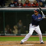 Cleveland Indians&#039; Ezequiel Carrera bats against the Minnesota Twins in a baseball game Tuesday, Sept. 18, 2012, in Cleveland. (AP Photo/Mark Duncan)