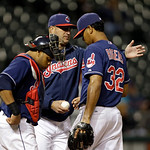 Cleveland Indians manager Manny Acta, center, removes relief pitcher Esmil Rogers (32) from a baseball game against the Minnesota Twins Tuesday, Sept. 18, 2012, in Cleveland. (AP Photo/Mark  &#8230;
