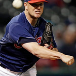 Cleveland Indians relief pitcher Vinnie Pestano throws to first to hold Minnesota Twins&#039; Alexi Casilla close in the eighth inning of a baseball game, Tuesday, Sept. 18, 2012, in Cleveland. ( &#8230;