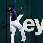 Cleveland Indians center fielder Michael Brantley makes a leaping catch at the wall to rob Minnesota Twins&#039; Darin Mastroianni of a hit in the 10th inning of a baseball game, Tuesday, Sept. 1 &#8230;