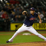 Cleveland Indians&#039; Scott Barnes pitches against the Minnesota Twins in a baseball game Tuesday, Sept. 18, 2012, in Cleveland. (AP Photo/Mark Duncan)