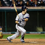 Minnesota Twins&#039; Joe Mauer bats against the Cleveland Indians in a baseball game Tuesday, Sept. 18, 2012, in Cleveland. (AP Photo/Mark Duncan)