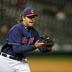 Cleveland Indians relief pitcher Chris Perez covers first in a baseball game against the Minnesota Twins Tuesday, Sept. 18, 2012, in Cleveland. (AP Photo/Mark Duncan)