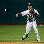 Minnesota Twins infielder Pedro Florimon throws out a runner in a baseball game against the Cleveland Indians Tuesday, Sept. 18, 2012, in Cleveland. (AP Photo/Mark Duncan)
