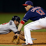 Minnesota Twins&#039; Darin Mastroianni dives back toward second base as Cleveland Indians shortstop Asdrubal Cabrera takes the throw in the eighth inning of a baseball game, Tuesday, Sept. 18, 2 &#8230;