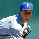 Kansas City Royals starting pitcher Jake Odorizzi throws during the first inning of a baseball game against the Cleveland Indians, Sunday, Sept. 23, 2012, in Kansas City, Mo. The game was Od …