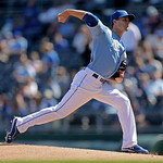 Kansas City Royals starting pitcher Jake Odorizzi throws during the first inning of a baseball game against the Cleveland Indians, Sunday, Sept. 23, 2012, in Kansas City, Mo. (AP Photo/Charl …
