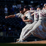 In this five-frame multiple exposure, Cleveland Indians relief pitcher Vinnie Pestano throws during the ninth inning of a baseball game against the Kansas City Royals, Sunday, Sept. 23, 2012 …