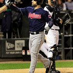 Cleveland Indians' Russ Canzier is high-fived after hitting a two-run home run against the Chicago White Sox in the sixth inning of a baseball game, Monday, Sept. 24, 2012, in Chicago. (AP P …