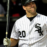Chicago White Sox's Kevin Youkilis reacts to a strike call as he bats in the eight inning against the Cleveland Indians during a baseball game, Monday, Sept. 24, 2012, in Chicago. The White  …