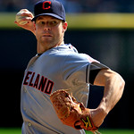 Cleveland Indians starting pitcher Cory Kluber throws against the Chicago White Sox in the first inning of a baseball game, Tuesday, Sept. 25, 2012, in Chicago. (AP Photo/John Smierciak)