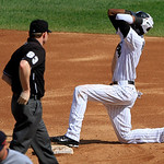 Chicago White Sox&#039;s Alexei Ramirez reacts to being called out at stealing second base by umpire Mike Estabrook during the third inning of a baseball game against the Cleveland Indians, Tuesd &#8230;