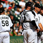 Chicago White Sox&#039;s starting pitcher Francisco Liriano, left, walks off the field after getting lifted by manager Robin Ventura, second from right, during the fourth inning during a baseball &#8230;