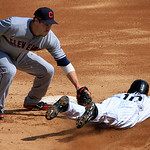 Cleveland Indians&#039; Jason Kipnis, left, tags out Chicago White Sox&#039;s Alexei Ramirez while attempting to steal second base during the third inning of a baseball game, Tuesday, Sept. 25, 2012,  &#8230;