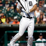 Detroit Tigers' Brennan Boesch reacts to being hit by Cleveland Indians relief pitcher Vinnie Pestano in the ninth inning of a baseball game in Detroit, Monday, Sept. 3, 2012. Cleveland won  …
