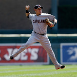 Cleveland Indians shortstop Asdrubal Cabrera throws to first base on a Detroit Tigers' Quintin Berry single in the first inning of a baseball game in Detroit, Monday, Sept. 3, 2012. (AP Phot …