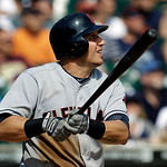 Cleveland Indians' Asdrubal Cabrera hits a sacrifice fly to score Lou Marson in the seventh inning of a baseball game against the Detroit Tigers in Detroit, Monday, Sept. 3, 2012. (AP Photo/ …