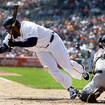 Detroit Tigers' Prince Fielder is hit by a Cleveland Indians starting pitcher Corey Kluber pitch as Lou Marson catches in the first inning of a baseball game in Detroit, Monday, Sept. 3, 201 …