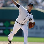 Detroit Tigers starting pitcher Anibal Sanchez throws against the Cleveland Indians in the first inning of a baseball game in Detroit, Monday, Sept. 3, 2012. (AP Photo/Paul Sancya)