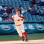 Cleveland Indians third baseman Jack Hannahan throws to first base in a baseball game against the Kansas City Royals, Sunday, Sept. 30, 2012, in Cleveland. (AP Photo/Tony Dejak)