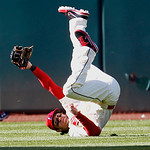 **CORRECTS TO JASON DONALD** Cleveland Indians' Jason Donald holds up the ball after making a diving catch in the ninth inning of a baseball game against the Kansas City Royals, Sunday, Sept …