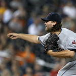 Cleveland Indians relief pitcher Chris Perez throws against the Detroit Tigers in the ninth inning of a baseball game in Detroit, Tuesday, Sept. 4, 2012. Cleveland won 3-2. (AP Photo/Paul Sa …